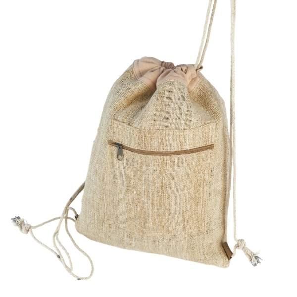 Plecak na sznurkach uszyty ręcznie z materiału konopnego
