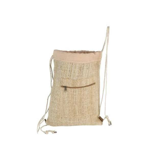 plecak konopny szyty ręcznie, wyjątkowo pojemny, beżowy plecak- worek