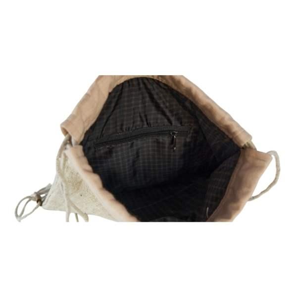 plecak konopny wyłożony od środka ortalionem