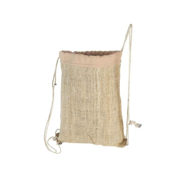 tył plecaka wykonanego z włókna konopi, szyty ręcznie w nepalu, niezwykle lekki i wytrzymały