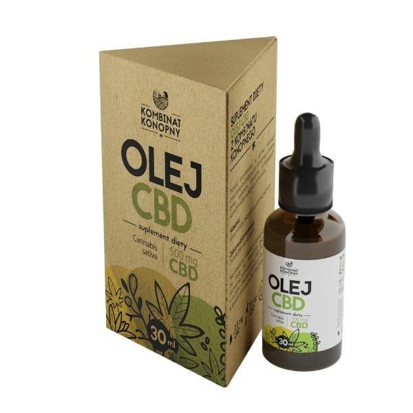 Tani i dobry olejek cbd od kombinatu konopnego; duża butelka oleju macerowanego z suszem konopnym o niskim stężeniu CBD; wygodna aplikacja dzięki dedykowanej pipecie; suplementacja dla każdego; Olej CBD 500mg